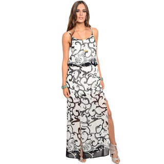 Shop the Trends Women's Spaghetti Strap Maxi Dress with Double Thigh High Slit and Blouson Bodice