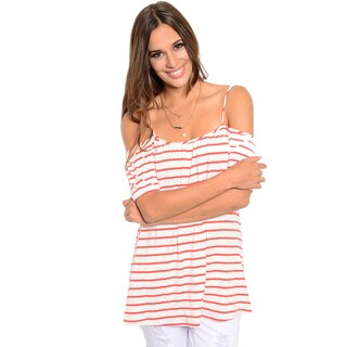 Shop the Trends Women's Short Sleeve Knit Top with Exposed Shoulders and Allover Striped Print