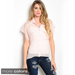 Shop the Trends Women's Cap Sleeve Woven Button Down Top with Flutter Sleeves and Lace Shoulders