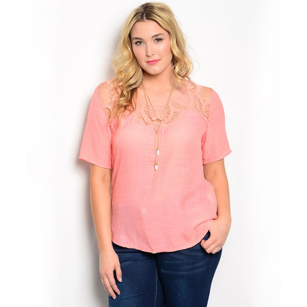 Shop the Trends Women's Plus Size Short Sleeve Woven Top with Crochet Yoke Detail