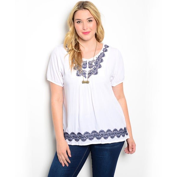 Shop the Trends Women's Plus Size Short Sleeve Woven Top with Embroidered Detail Along Yoke and Hem