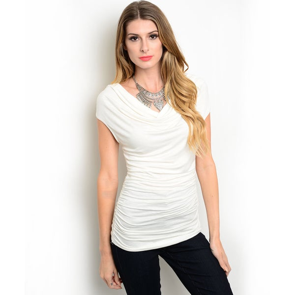 Shop the Trends Women's Cap Sleeve Knit Top with Ruched Sides and Cowl Neckline