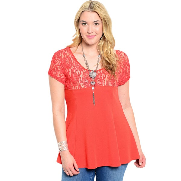 Shop the Trends Women's Plus Size Short Sleeve Knit Top with Lace Neckline and Shoulders