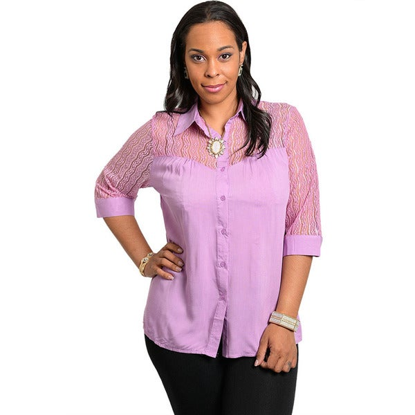 Shop the Trends Women's Plus Size 3/4 Sleeve Woven Top with Collared Neck and Sheer Lace Yoke