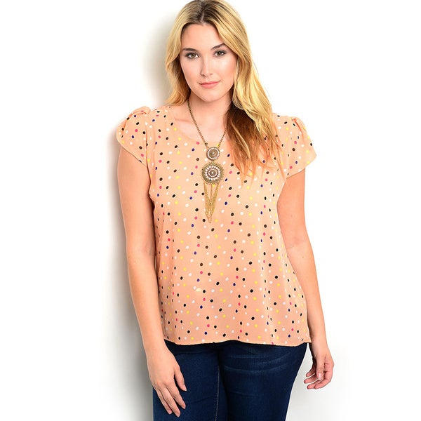 Shop the Trends Women's Plus Size Cap Sleeve Knit Top with Rounded Neckline and Allover Polka Dot Print