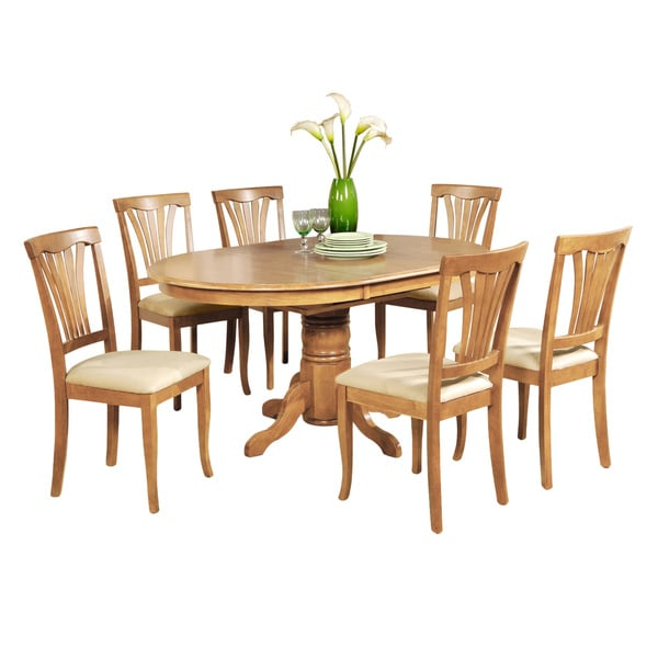 7-piece Dining Table Set-Oval Dinette Table with Leaf and 6 Dining Chairs in Oak