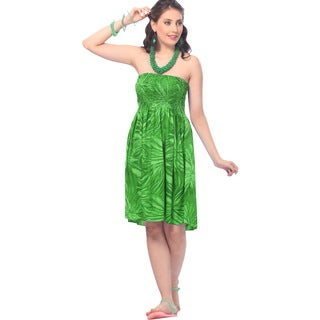 La Leela Women's Likre Green Printed Short Casual Tube Dress