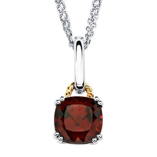 18k Gold and Sterling Silver Custhion-cut Garnet Pendant