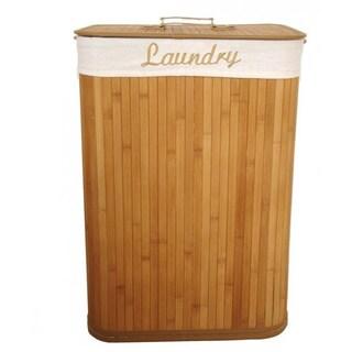Home Basics Rectangle Natural Bamboo Laundry Hamper
