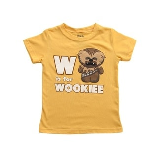 W Is For Wookie Star Wars Toddler T-Shirt Yellow Baby Infant Chewbacca Chewy