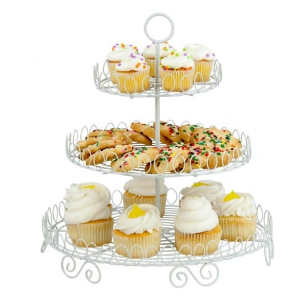 Home Basics White 3-tier Cupcake and Dessert Stand