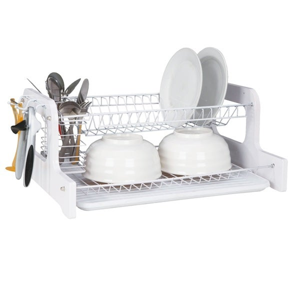 Home Basics 2-tier Dish Rack Drainer, White