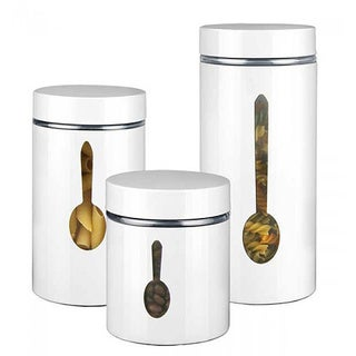 Home Basics 3-piece Canister Set with Spoon Encasement