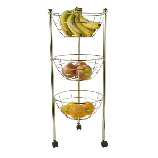 Home Basics Chrome 3-tier Kitchen Trolley Tray