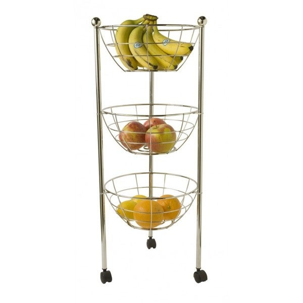 Home Basics Chrome 3-tier Kitchen Trolley Tray
