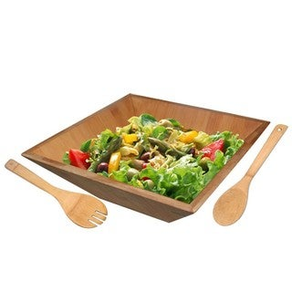 Home Basics Bamboo Salad Serving Bowl with Utensils