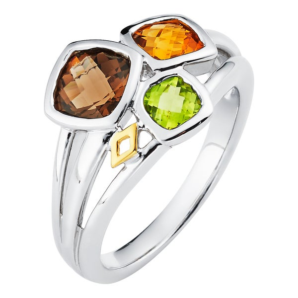 18k White Gold and Sterling Silver Multi-gemstone Ring