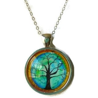 Atkinson Creations- All Things Connected Tree of Life Glass Dome Pendant Necklace
