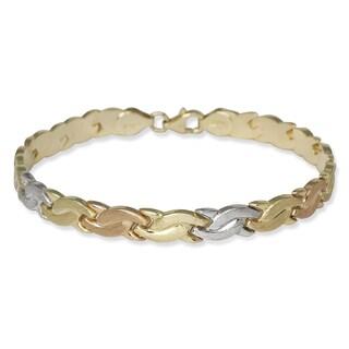 10k Tri-color Gold 7-inch Satin Wave Stampato Bracelet