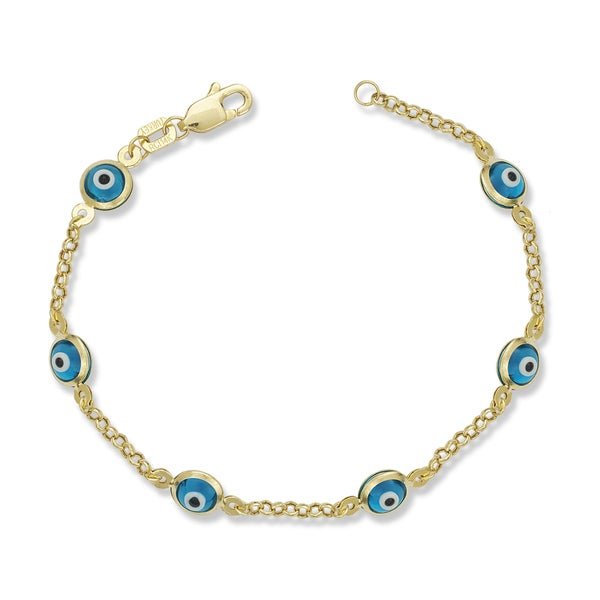 Solid 14k Gold 5-inch Baby Children Enamel Evil Eye Bracelet