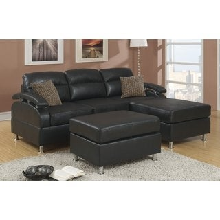 3 Piece Modern Black Reversible Bonded Leather Sectional Sofa with Ottoman