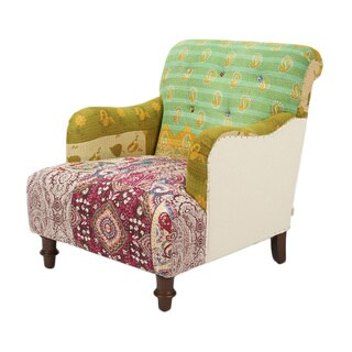 Kantha Pine Cotton Fabric Arm Chair