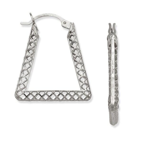 10k White Gold Filigree Triangle Fancy Hoop Earrings