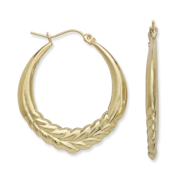 10k Yellow Gold Bold Round Feather Hoop Earrings