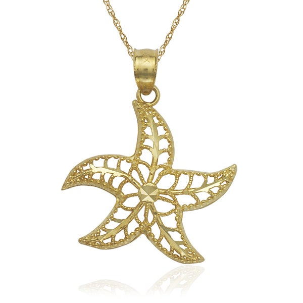 10k Gold Filigree Diamond-cut Starfish 16-inch Necklace