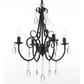 Wrought Iron and Crystal 4-light Rustic Chandelier Pendant