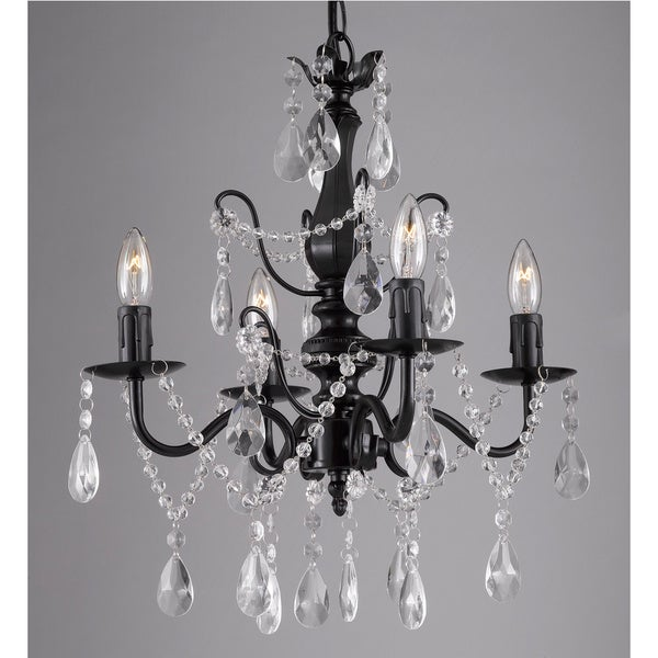 Wrought Iron And Crystal Black Four Light Chandelier Pendant Free Shipping Today Overstock Com