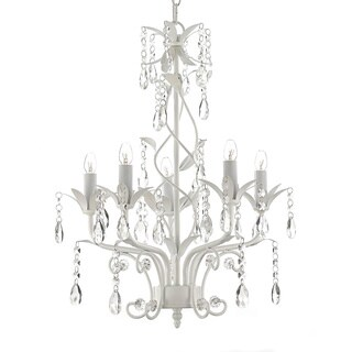 Wrought Iron and Crystal White 5-light Chandelier Pendant