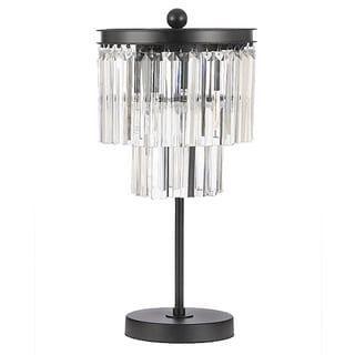 Odeon Crystal Glass Fringe 3-light Table Lamp Desk Lamp