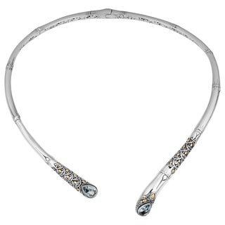 Sterling Silver, 18K Gold, Blue Topaz Bamboo Cawi Necklace (Indonesia)