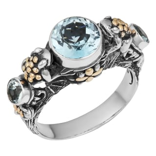 Sterling Silver, 18K Gold, Blue Topaz Tropical Frogs Cawi Ring (Indonesia)