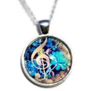 Atkinson Creations- Blue Treble Clef Dome Pendant Necklace