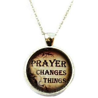 Atkinson Creations- Prayer Changes Things Glass Dome Pendant Necklace