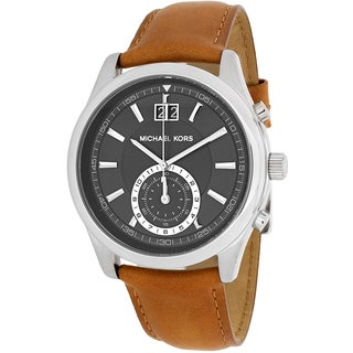 Michael Kors Men's MK8416 Aiden Round Brown Leather Strap Watch