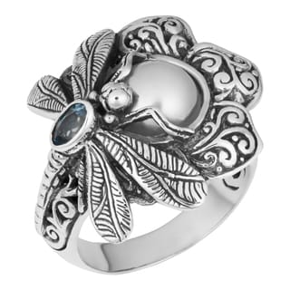 Sterling Silver Mabe Pearl and Blue Topaz Dragonfly Floral Cawi Ring (Indonesia)