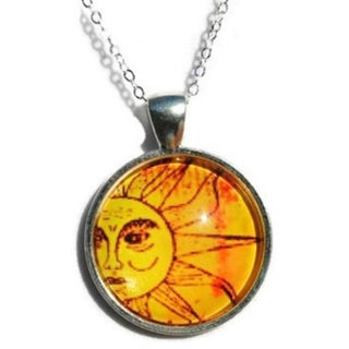 Atkinson Creations- The Golden Sun Glass Dome Pendant Necklace 15757331