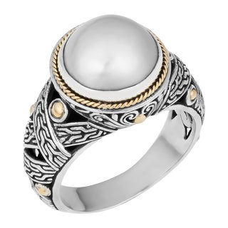 Sterling Silver, 18K Gold, Mabe Pearl Cawi Ring (Indonesia)