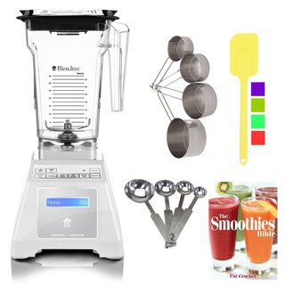 Blendtec TB-611-20 Total Blender + Four Side Jar (White) + Smoothies Bible Cookbook and Kitchen Accessory Bundle (Refurbished)