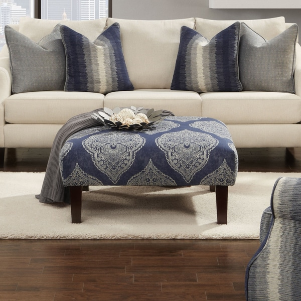 Furniture of America Nadia Contemporary Blue Damask Square Ottoman