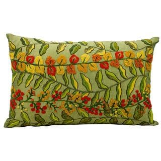 "Mina Victory by Nourison Fantasia Green Pillow (12"" x 20"")"