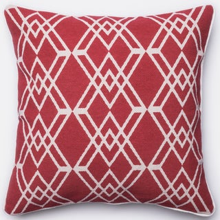 Ledbury Red/ Ivory Diamond Lattice Down Feather or Polyester Filled 22-inch Throw Pillow or Pillow Cover