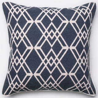 Ledbury Navy/ Ivory Diamond Lattice Down Feather or Polyester Filled 22-inch Throw Pillow or Pillow Cover