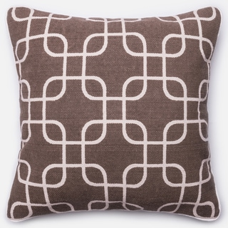 Ledbury Brown/ Ivory Retro Down Feather or Polyester Filled 22-inch Throw Pillow or Pillow Cover