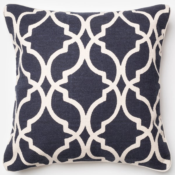 Ledbury Navy/ Ivory Moroccan Down Feather or Polyester Filled 22-inch Throw Pillow or Pillow Cover