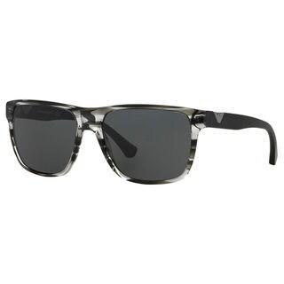 Emporio Armani Men's EA4035 Striped Grey Plastic Square Sunglasses