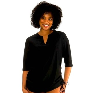 Mazu Swim Plus Size Solid Black Cover Up Rashguard Tunic Top